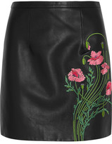 Christopher Kane Floral-Embroidered Leather Mini Skirt