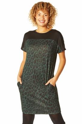 Roman Originals Women Contrast Yoke Animal Leopard Print Cocoon Dress - Ladies Smart Casual Day Work Evening Mesh Panel Detail Short Sleeve Tunic Dresses - Red & Black - Size 10