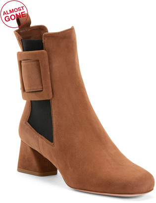 Made In Italy Suede Double Gore Side Buckle Booties