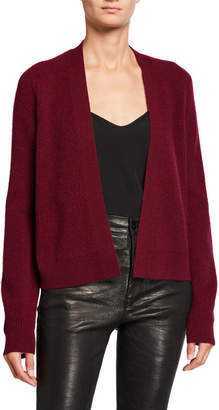 Neiman Marcus Cashmere Ribbed Open-Front Short Cardigan