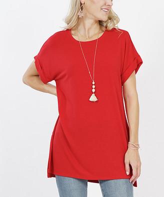 Lydiane Women's Tunics DK - Dark Red Crewneck Rolled-Sleeve Side-Slit Tunic - Women