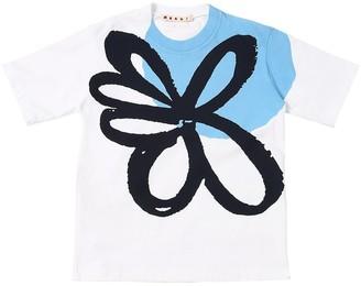 Flower Print Cotton Jersey T-Shirt
