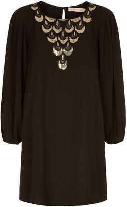 Traffic People Jewel Of The Nile Sequin Shift Mini Dress In Black