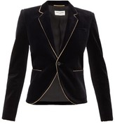 Saint Laurent Single-breasted Velvet Blazer - Womens - Black