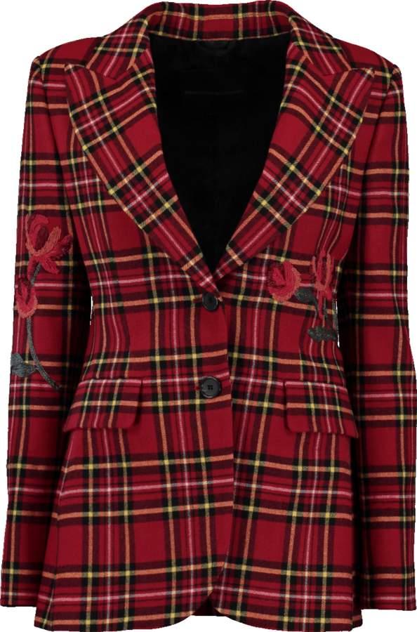 Ermanno Scervino Flower Embroidered Plaid Jacket