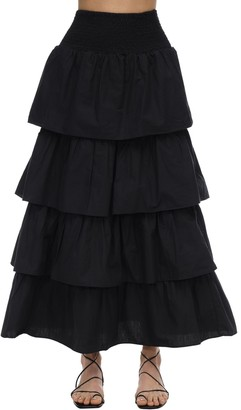 WeWoreWhat Paloma Ruffled Cotton Maxi Skirt