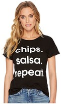 Original Retro Brand The Chips, Salsa, Repeat Short Sleeve Rolled Sleeve Tee (Black) Women's T Shirt