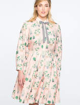 ELOQUII Long Sleeve Printed Fit and Flare Dress