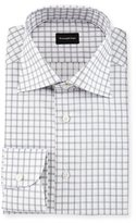 Ermenegildo Zegna Contemporary-Fit Large Box-Check Dress Shirt, White