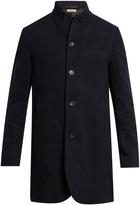 Blue Blue Japan Inverted peak-lapel cotton and wool-blend overcoat