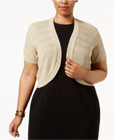 NY Collection Plus Size Pointelle-Knit Shrug