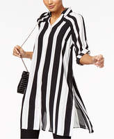 Alfani Striped Roll-Tab Tunic Shirt, Created for Macy's