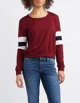 Charlotte Russe Varsity Stripe Sweatshirt