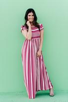 Shabby Apple Sara Jersey Striped Maxi Dress Pink