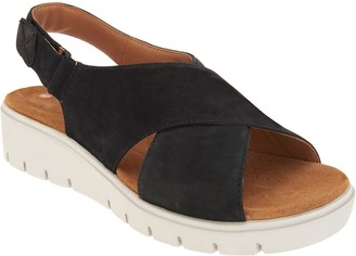 Clarks Leather Low Wedge Sandals - Un Karely Hail