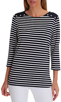 Betty Barclay Harbour Striped Top, Dark Blue/White