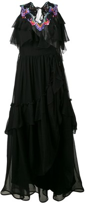 Alberta Ferretti Embroidered Trim Tiered Dress