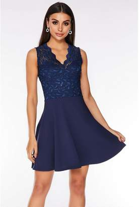 Quiz Navy Glitter Lace Skater Dress