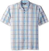 Stacy Adams Men's Big-Tall Linen Blend Yarn Dyed Print Short Sleeve Shirt