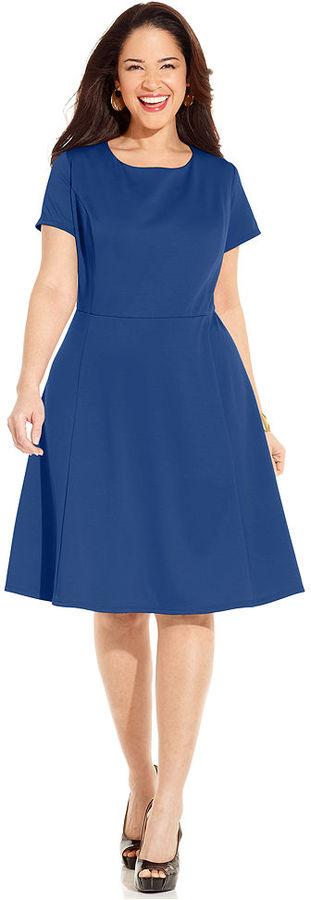 Amy Byer Plus Size Dress, Short-Sleeve A-Line