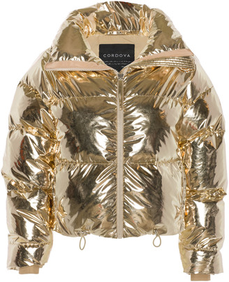 Cordova Mont Blanc Metallic Quilted Shell Down Bomber Jacket