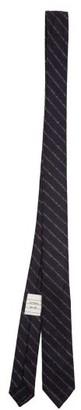 Thom Browne Chalk-stripe Wool-blend Flannel Tie - Navy