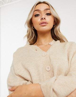 ASOS DESIGN fluffy cardigan with crewneck in oatmeal
