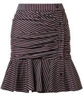 Veronica Beard Fluted Ruched Striped Cotton Mini Skirt