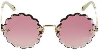 Chloé Rosie Petite Round Wavy Metal Sunglasses