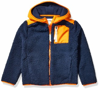 Spotted Zebra Hooded Sherpa Fleece Jacket Navy/Orange Small (6-7)
