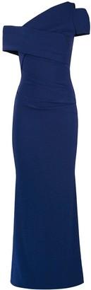Talbot Runhof Asymmetric Off Shoulder Dress