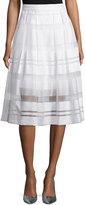 Erin Fetherston Vista Sheer-Striped A-Line Skirt, Ivory