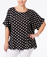 ING Trendy Plus Size Dolman-Sleeve Printed Top