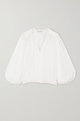 Alice + Olivia Julius Swiss-dot And Fil Coupe Silk And Cotton-blend Chiffon Blouse - Off-white
