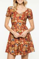 Everly Rust Floral A-Line Dress