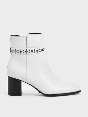 Charles & Keith Leather Embellished Ankle Boots