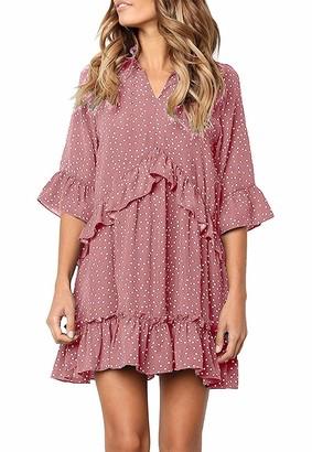 Netant Ruffle Polka Dot Dresses for Women Swing Tunic Tops Casual Loose Fitting V Neck Sleeveless & Half Sleeve