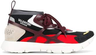 Valentino Garavani panelled lace-up sneakers red/black