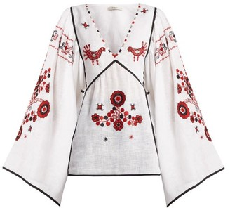 Vita Kin - Country Bird And Floral-embroidered Linen Top - Womens - White Multi