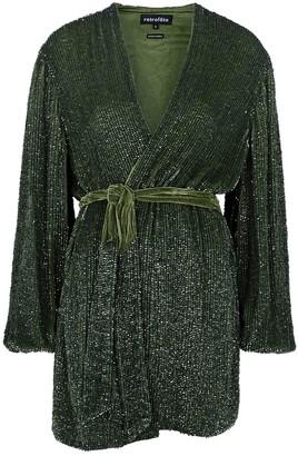 retrofete Gabrielle dark green sequin mini dress