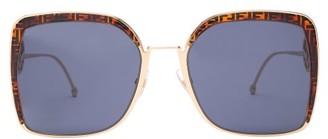 Fendi F Is Ff-logo Square-frame Sunglasses - Tortoiseshell