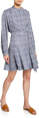 Derek Lam 10 Crosby Long-Sleeve Printed Godet-Insert Dress