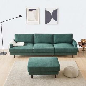Corrigan Studio Hegg 104.6'' Wide Reversible Sofa & Chaise with Ottoman Fabric: Emerald