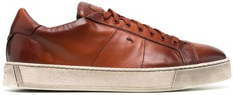 Santoni Low-Top Leather Sneakers