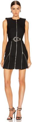 Alexander McQueen Zip Mini Dress in Black   FWRD