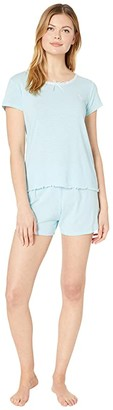 Lauren Ralph Lauren Slub Rib Knit Short Sleeve Lace Neck Boxer Pajama Set (Blue Stripe) Women's Pajama Sets
