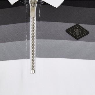 River Island Boys Half Zip Colourblock Polo Shirt-White