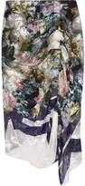 Preen by Thornton Bregazzi Terence Floral-print Devoré Silk-blend Chiffon Skirt - Blue