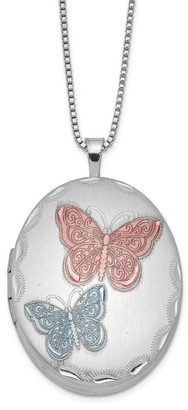 Versil Sterling Silver Rhodium-plated 26mm Enameled Butterfly Oval Locket 18-inch Necklace