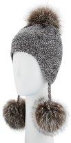 Portolano Cashmere Pompom Tassel Beanie Hat, Gray